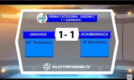 VIDEO: GENOVESE BOCCADASSE – SCIARBORRASCA 1-1. 1^ Categoria Girone C 2016/2017