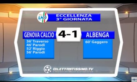VIDEO: GENOVA CALCIO – ALBENGA 4-1. Eccellenza Ligure 2016/2017