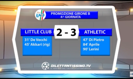 Promozione girone B 02/10/16 LITTLE CLUB G.MORA – ATHLETIC CLUB LIBERI 2-3