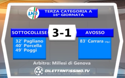 SOTTOCOLLESE – AVOSSO 3-1 | TERZA CATEGORIA A