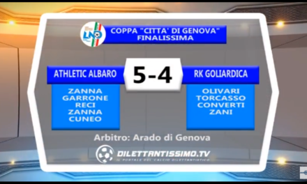 VIDEO: ATHLETIC ALBARO -RK GOLIARDICA 5-4. Finale Coppa Città di Genova