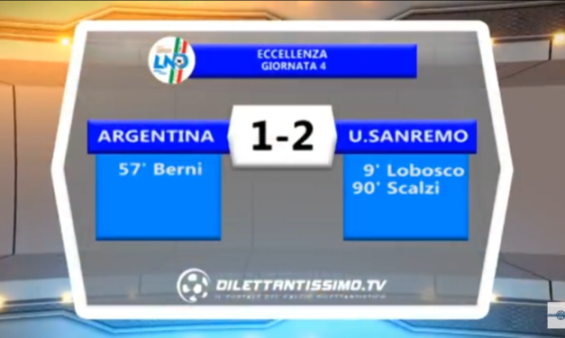 Video: ARGENTINA – SANREMESE 1-2. Serie D Girone E