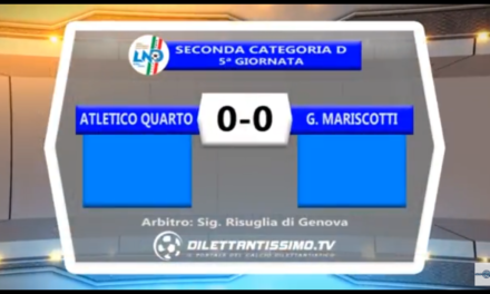 VIDEO:ATLETICO QUARTO-MARISCOTTI 0-0. 2ª Categoria Girone D 5ª Giornata