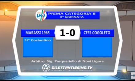 VIDEO: Marassi-Cogoleto 1-0. Prima Categoria B  8ª Giornata