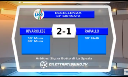 Video: RIVAROLESE-RAPALLO 2-1. Eccellenza 14^ giornata