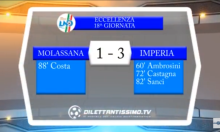 VIDEO Eccellenza – 19a giornata: Gli highlights di Molassana-Imperia 1-3