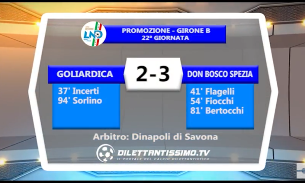 VIDEO – Promozione B: Gli highlights di Goliardica-Don Bosco Spezia 2-3