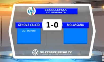 VIDEO – Eccellenza: Gli highlights di Genova Calcio-Molassana 1-0