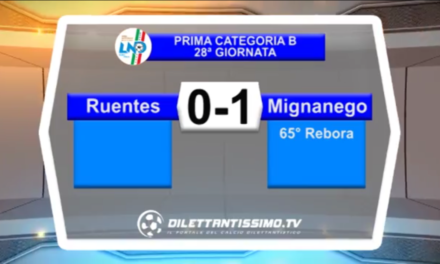 VIDEO: RUENTES – MIGNANEGO 0-1. Prima categoria B