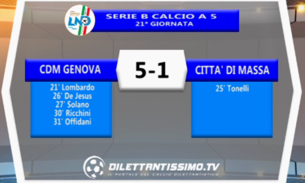 VIDEO – FUTSAL Serie B: Gli highlights di Cdm Genova-Città di Massa 5-1