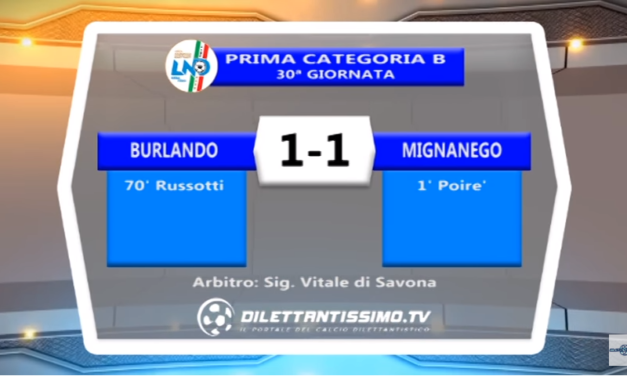VIDEO – Prima B: Gli highlights di Burlando-Mignanego 1-1