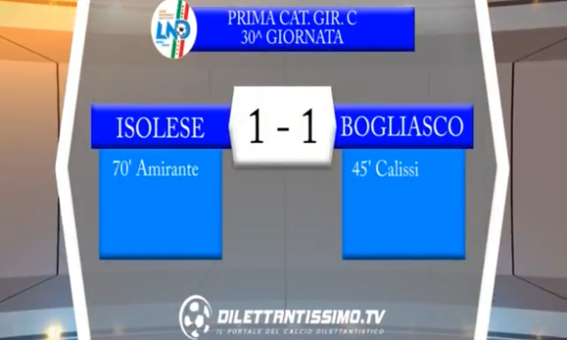VIDEO – Prima Categoria C: Gli highlights di Isolese-Bogliasco 1-1