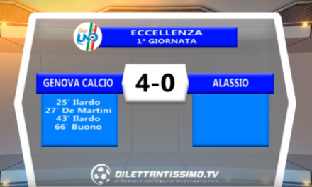VIDEO – Eccellenza: Gli highlights di Genova Calcio – Alassio 4-0