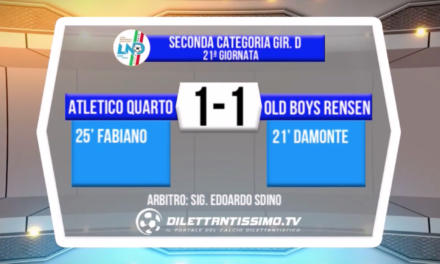 VIDEO – SECONDA D: il servizio di ATLETICO QUARTO-OLD BOYS RENSEN 1-1
