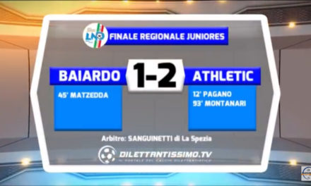 VIDEO FINALE JUNIORES: BAIARDO – ATHLETIC 1-2. Highlights +Intervista