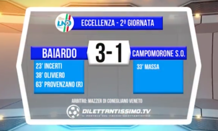 video – BAIARDO-CAMPOMORONE 3-1: Highlights