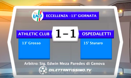 ATHLETIC – OSPEDALETTI 1-1: Highlights della partita + interviste