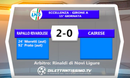 RAPALLO RIVAROLESE – CAIRESE 2-0: Highlights della partita + interviste