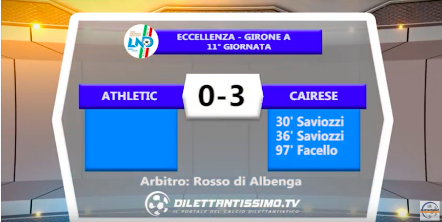 ATHLETIC – CAIRESE 0-3: Highlights della partita + interviste