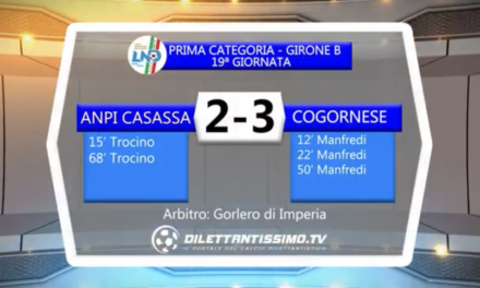 ANPI-COGORNESE: HIGHLIGHTS DELLA PARTITA + INTERVISTE