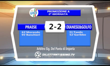 VIDEO – PRAESE-GOLFO DIANESE 2-2: le immagini del match e le interviste post partita