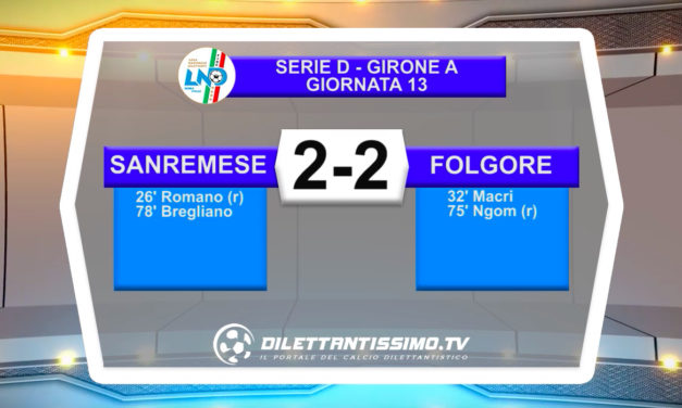 VIDEO|SANREMESE-FOLGORE CARATESE 2-2: LE IMMAGINI DEL MATCH