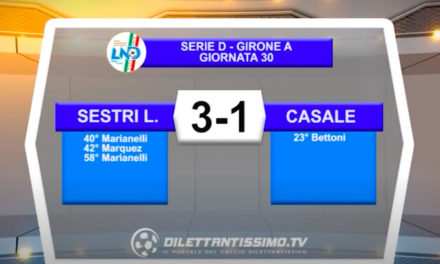VIDEO|SESTRI LEVANTE-CASALE 3-1: LE IMMAGINI DEL MATCH