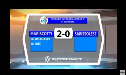 VIDEO: G.MARISCOTTI-SARISSOLESE 2-0. 2^Cat.Girone D. 3^ Giornata. Arbitro: Abbatuccolo