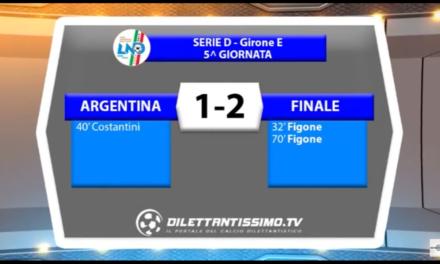 SERIE D GIR.E  ARGENTINA – FINALE 1-2   02/10/16