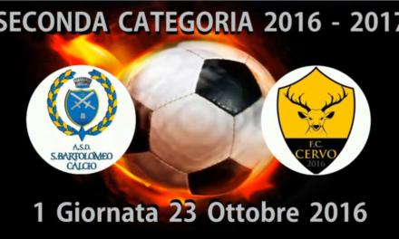VIDEO:: S.BARTOLOMEO-CERVO 5-1. 2ª CATEGORIA A. 23/10/2016