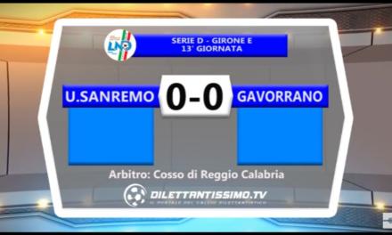 VIDEO: SANREMESE-GAVORRANO 0-0. Serie D Girone E 13ª giornata