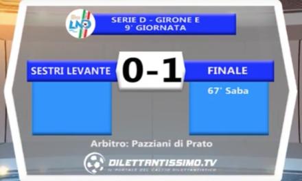 SESTRI LEVANTE – FINALE LIGURE 0-1   SERIE D  30/10/16