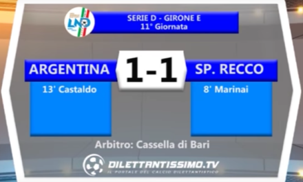 VIDEO: ARGENTINA – SP.RECCO 1-1. Serie D Girone E. 11ª Giornata