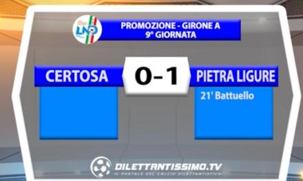 CERTOSA – PIETRA LIGURE 0-1   PROMOZIONE GIR.A 9a giornata