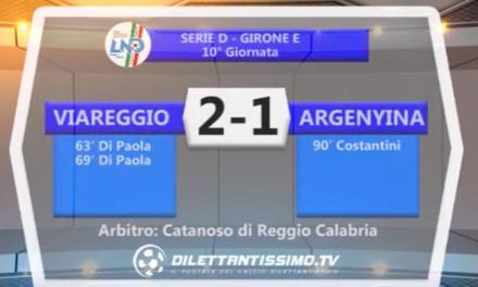SERIE D  VIAREGGIO – ARGENTINA 2-1