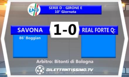 SERIE D SAVONA – REAL FORTE QUERCETA 1-0