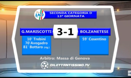 VIDEO: MARISCOTTI-BOLZANETESE 3-1. 2ª CATEGORIA 13ª giornata