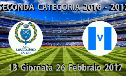 VIDEO:San Bartolomeo – Virtus Sanremo 1-0. 2ª Categoria A 13ª giornata