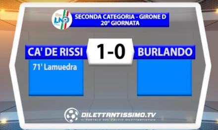 CA DE RISSI – BURLANDO 1-0 | SECONDA CATEGORIA D  19/02/2017