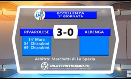 VIDEO: RIVAROLESE ALBENGA 3-0. Eccellenza 1ª Giornata