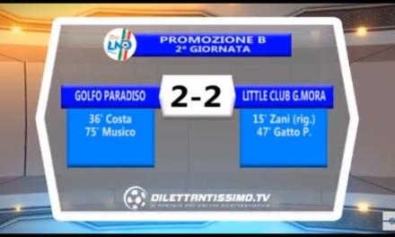 VIDEO: GOLFO PARADISO- LITTLE CLUB 2-2. Promozione B 2ª Giornata