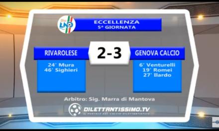 VIDEO: RIVAROLESE- GENOVA CALCIO 2-3. Eccellenza 5ª Giornata