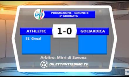 Video: ATHLETIC-GOLIARDICA 1-0. Promozione B 5ª Giornata