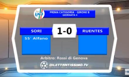 VIDEO: SORI-RUENTES 1-0. 1ª Categoria B 4ª Giornata