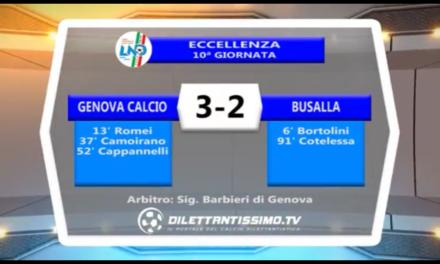 Video: Genova Calcio-Busalla 3-2. Eccellenza 10^ Giornata Campionato 2017/2018