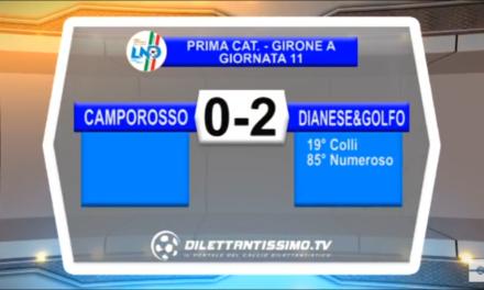 VIDEO 1ª Categoria A, Camporosso-Dianese & Golfo 0-2