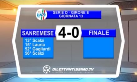 Video: Sanremese – Finale 4-0. Serie D Girone E 13^ Giornata