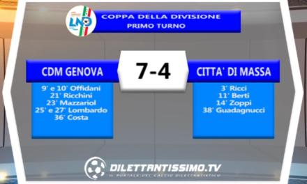 VIDEO – Calcio a 5: CDM GENOVA-CITTA' DI MASSA 7-4 Coppa della Divisione – Primo turno