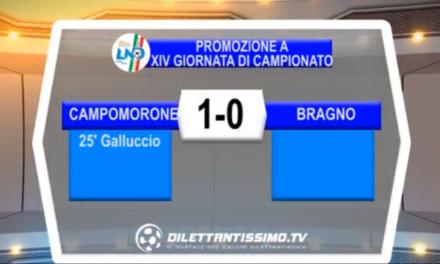 Video: CAMPOMORONE-BRAGNO 1-0, Promozione Girone A 14^ Giornata