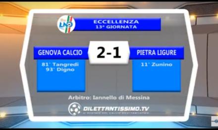 Video: GENOVA CALCIO-PIETRA LIGURE 2-1. Eccellenza 13^ Giornata